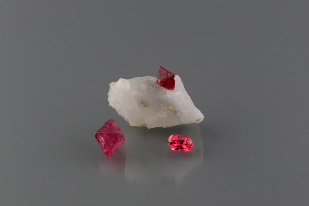 Red Spinel Rough and Cut